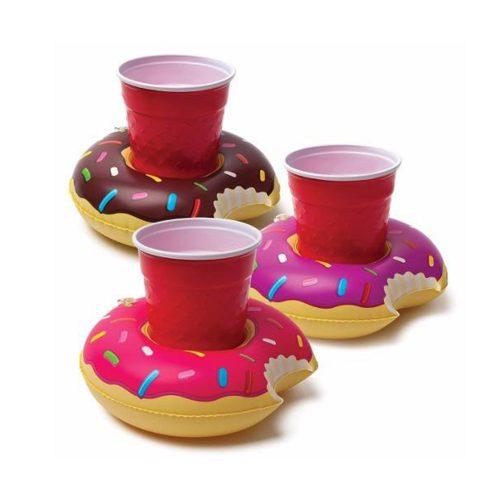 Posavasos inflables para bebidas con forma de donut, 3 piezas BigMouth