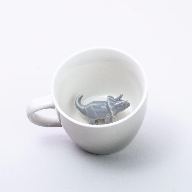Taza dino mug dinosaurio gris