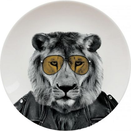 Plato de cerámica león
